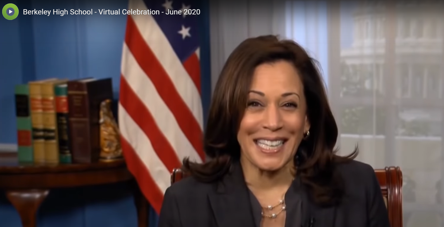 This is a photo of Vice President Elect Kamala Harris speaking at Berkeley's Class of 2020 virtual graduation on June 12, 2020.