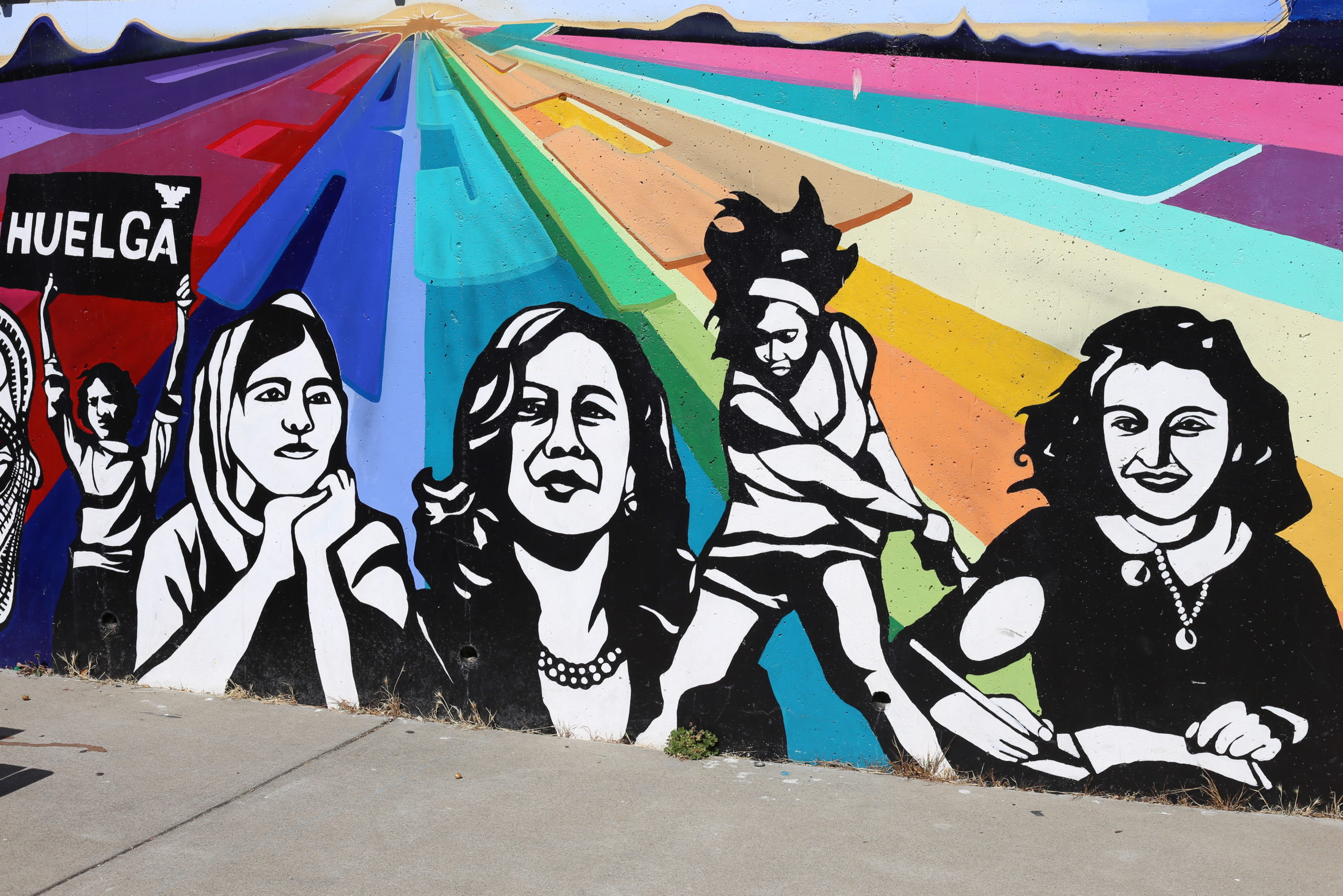 This is a photo of a mural at Thousand Oaks Elementary School featuring Vice President-Elect Kamala Harris and other women leaders.