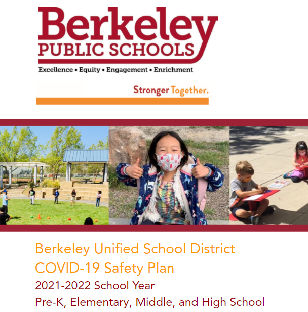 This is an image of the cover of the BUSD COVID Safety Plan 2021-2022 for Pre-K, Elementary, Middle and High School.